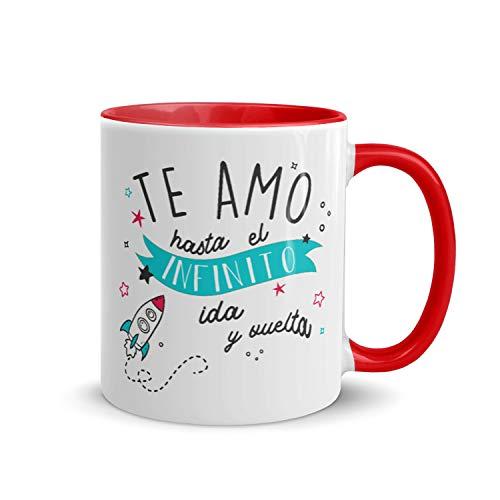 Kembilove Tazas de Desayuno para Parejas – Taza de Café Rojas con Mensaje Te Amo hasta el Infinito ida y vuelta – Regalos Originales para Regalar en San Valentín, Cumpleaños – Tazas de 350 ml