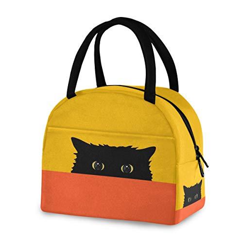 ZZKKO Hidden Black Cat Lunch Bag Box Tote Organizer Lunch Container Insulated Zipper Meal Prep Cooler Handbag For Women Men Home School Office Outdoor Use