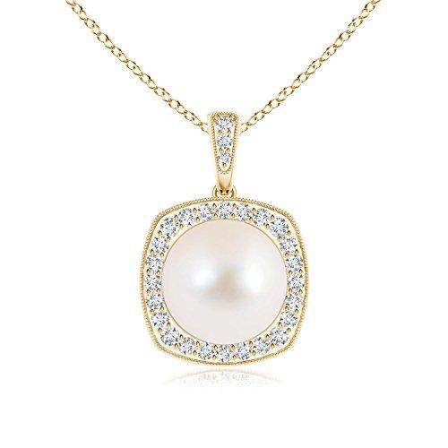 milgrain-edged perla vintage collana con pendente con diamante Halo e Oro giallo, cod. ANG-P-SP1004FWPRD-YG-AAA-10