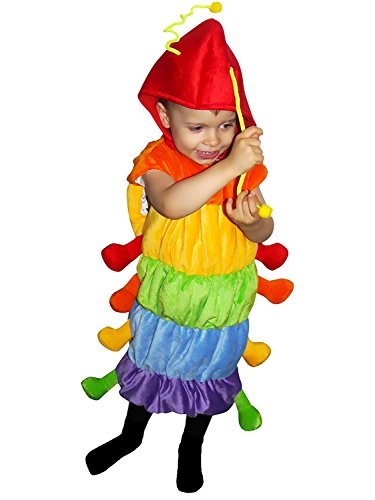 Raupen-Kostüm, F83 Gr. 110-116, für Kinder, Raupe-Kostüme Raupen für Fasching Karneval, Klein-Kinder Karnevalskostüme, Kinder-Faschingskostüme, Geburtstags-Geschenk Weihnachts-Geschenk