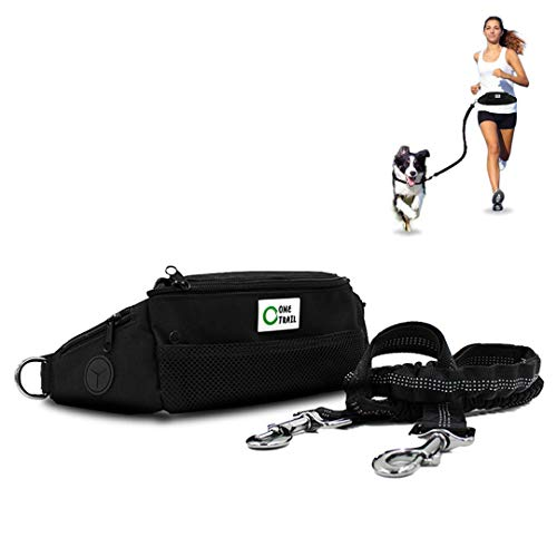 "One Trail Hands Free Dog Leash (Black) | Durable Bungee Leash with No-Bounce Pack | for Men & Women | Pouch Fits All Large Cell Phones | Fits up to 50"" Waist 