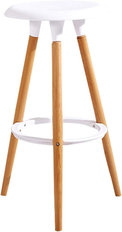 Jiu Si- Nordic Bar Stool Solid Wood Bar Chair High Stool Bar Chair Leisure Chair Dining Chair Cafe Chair bar Chair (color   White)