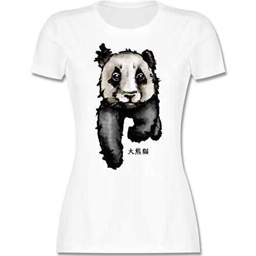 Wildnis - Panda mit chinesischen Schriftzeichen für Panda übersetzt große Bär-Katze - L - Weiß - t-Shirt Schwarze Katze - L191 - Tailliertes Tshirt für Damen und Frauen T-Shirt