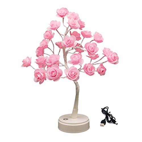 Bonsai - Lámpara LED con forma de árbol rosa, alimentación por USB / batería, lámpara de mesa, 30 LED, luz nocturna para salón, dormitorio, boda, regalo (rosa)