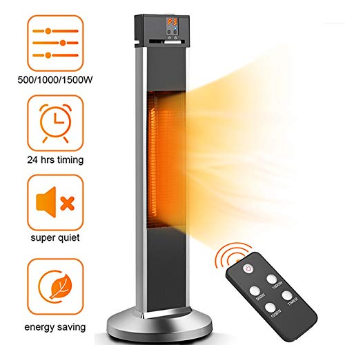 Patio Heater-Air Choice Space Heater Infrared Heater, 24 Timing Auto Shut Off Radiant Heater w/Remote, 500/1000/1500W, Super Quiet 3s Instant Warm Vertical Electric Heater for Big Room Backyard