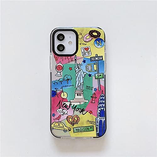 FYMIJJ Adecuado para iPhone12promax TPU de Dos Colores para iPhoneXs 11 / 7p Viaje Alrededor del Mundo Estuche Personalizado para teléfono con Graffiti, 3, para iPhone 6 6S