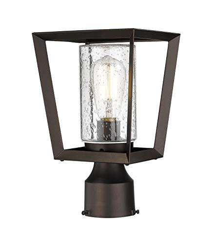 Rosient Outdoor Post Lantern, Modern Exterior Pillar Lamp,Exterior Post Lantern in Oil Rubbed Bronze Finish with Seeded Glass