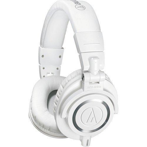 Audio-Technica ATH-M50x Professional Studio Monitor Headphones, White (Renewed)