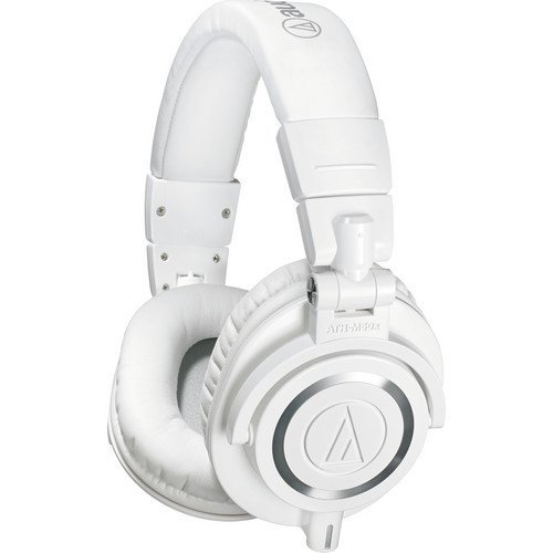 Audio-Technica ATH-M50x Professional Studio Monitor Headphones, White (Renewed)