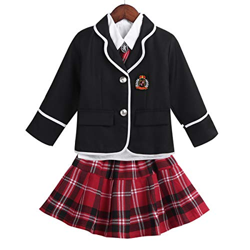 moily Girls Japanese Anime School Uniform Set for Autumn Winter Long Sleeve Shirt Jacket with Skirts Black&Red 8-10 Years