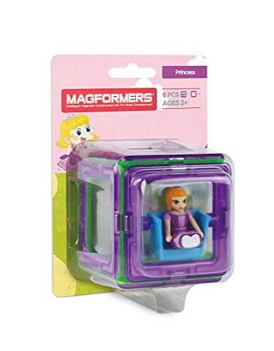 Magformers Princess Character 6 Pieces Add on, Rainbow Colors, Educational Magnetic Geometric Shapes Tiles Building STEM Toy Set Ages 3+
