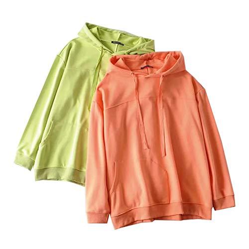 HOSD Suéter Informal con Capucha de Color sólido de Todo fósforo para Mujer otoño / Invierno Blusa Suelta y Delgada de Manga Larga