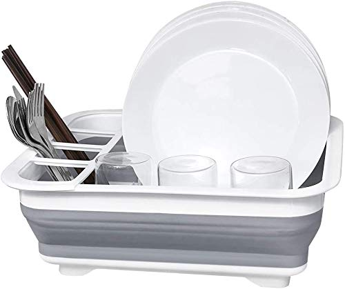 Collapsible Dish Drying Rack, Small Folding Dish Rack, D L D Portable Dish Drying Rack, Compact Dish Drainer for Kitchen, Camper, RV, Caravan, Travel Trailer (Gray and White Without Drainer Board)