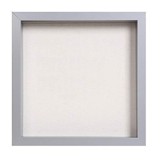 Muzilife 3D Bilderrahmen zum Befüllen 25x25cm Tiefe Box Objektrahmen mit Glasscheibe 1 Stück, Grau