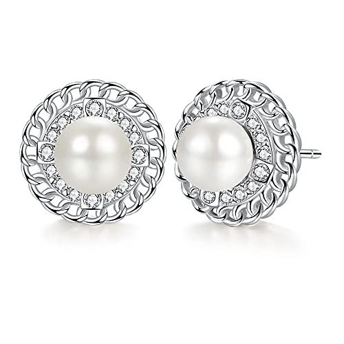 Micory Pendientes Perlas Mujer Plata de Ley 925 con Gratis Caja de Regalo
