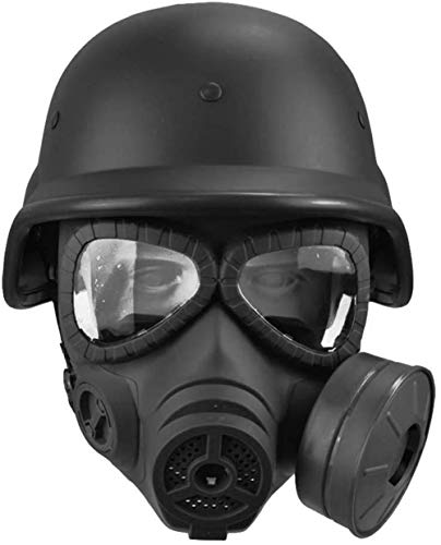 XYLUCKY M88 Tactical Helm, CS Spiele Maske, Airsoft Spiel CS Army War BB Spiel Gesichtsschutz Schutz Gesichtsschutz Giftige Gasmaske,Schwarz
