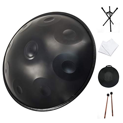 Handpan drum instrument, AS TEMAN handpan in D Minor 9Notes 22 inches Steel Hand Drum with Soft Hand Pan Bag, 2 handpan mallet,Handpan Stand,dust-free...