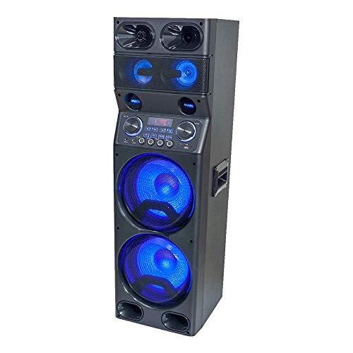 Ibiza Sound Aktiv-Lautsprecher mit LED, RGB, Bluetooth, USB, Micro-SD, FM-Tuner und Fernbedienung, 2 x 10/25 cm, 450 W
