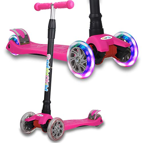 Kick Scooter for Kids, 4 Adjustable Height, Lean to Steer with PU Light Up Wheels, Training Balance Toys for Children from 2 to 13 Year-Old, Gifts for Child (Pink)