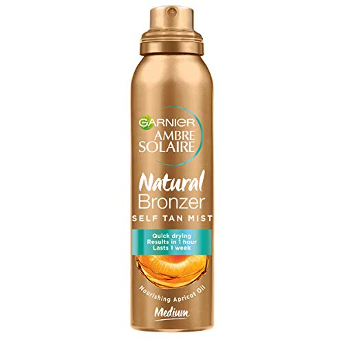Garnier Ambre Solaire Spray Autoabbronzante Natural Bronzer, Risultato Visibile in 1 Ora, Arricchito con Olio d Albicocca Nutriente, Formula Vegana, 150 ml