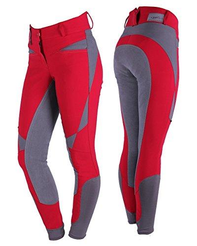 QHP Damen Reithose Danae Kunstleder Vollbesatzreithose mit auffallenden geometrischen Mustern und Hochbund (38, Rot)