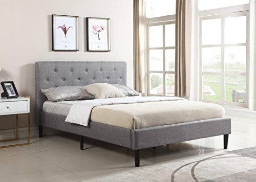 """Home Life Premiere Classics Cloth Dark Grey Silver Linen 51"""" Tall Headboard Platform Bed with Slats Full - Complete Bed 5 Year Warranty Included 021"""