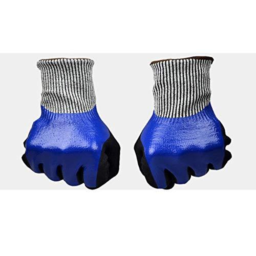 Guantes de nitrilo Scrub Guantes Impermeables de 5 Niveles Anti-Corte, Antideslizantes, Resistentes al Aceite y al Desgaste, Antideslizantes DSJSP (Size : M)