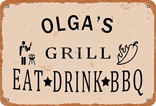Keely Olga'S Grill Eat Drink BBQ Metall Vintage Zinn Zeichen Wanddekoration 12x8 Zoll für Cafe Bars Restaurants Pubs Man Cave Dekorativ