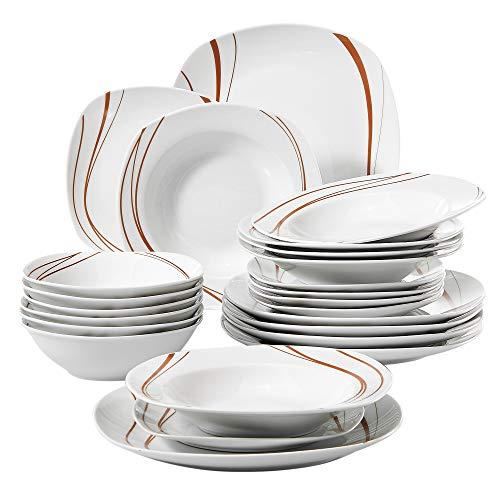 Veweet BONNIE 24pcs Service de Table Pocelaine 6pcs Assiettes Plates 24,6cm, 6pcs Assiette Creuse 21,5cm, 6pcs Assiette à Dessert 19cm, 6pcs Bols à Céréales 17cm Vaisselles pour 6 Personnes