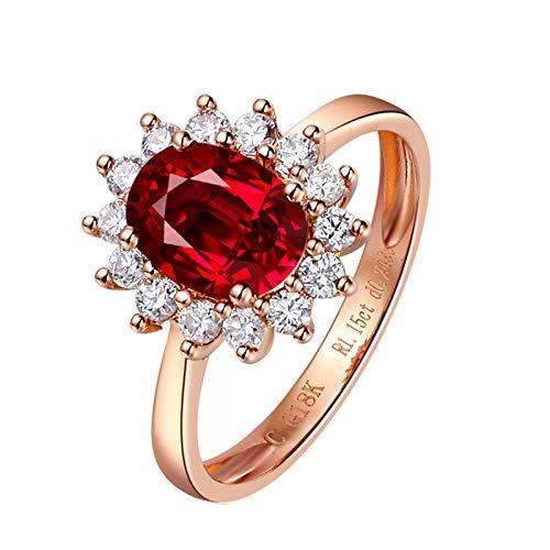 Bishilin Alianzas Oro Rosa 750 Clásico Bandas de Boda Rojo Rubí Diamante Aniversario de Las Bandas de Anillos de Compromiso Forma Ovalada Aniversario de Bandas de Anillo de Compromiso Rojo