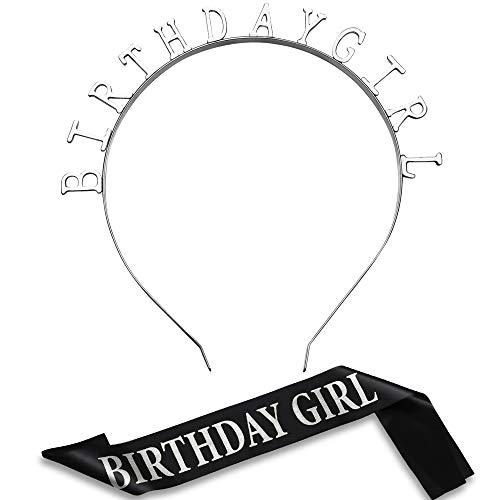 Compleanno Copricapo Ragazza Tiara Fascia Cerchietto Oro Compleanno di Raso Fascia per Decorazioni per Feste Forniture (Argenteo)