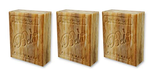 Bela Bath & Beauty, Sandalwood, Triple French Milled Moisturizing Bars, No Harsh Ingredients, 3.5 oz each - 3 Pack