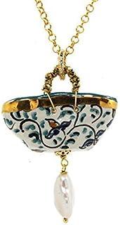 Ciondolo donna Coffa disegno storico e perla. Collana donna.Gioielli in ceramica dipinta a mano. Made in Italy.