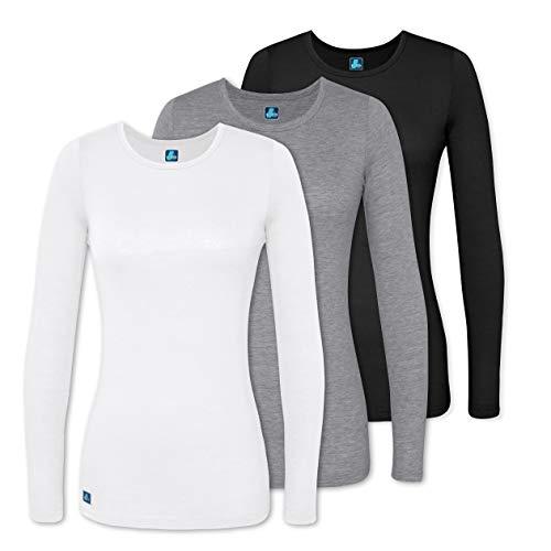 Adar Underscrubs for Women 3 Pack - Long Sleeve Underscrub Comfort Tee - 2903 - Black/Dark Marl Gray/White - 3X