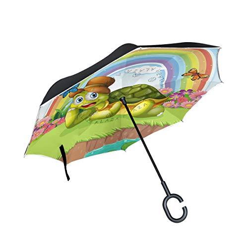 Guarda-chuva invertido My Daily de camada dupla para carros, guarda-chuva invertido, tartaruga, borboleta, arco-íris, à prova de vento UV para viagem ao ar livre