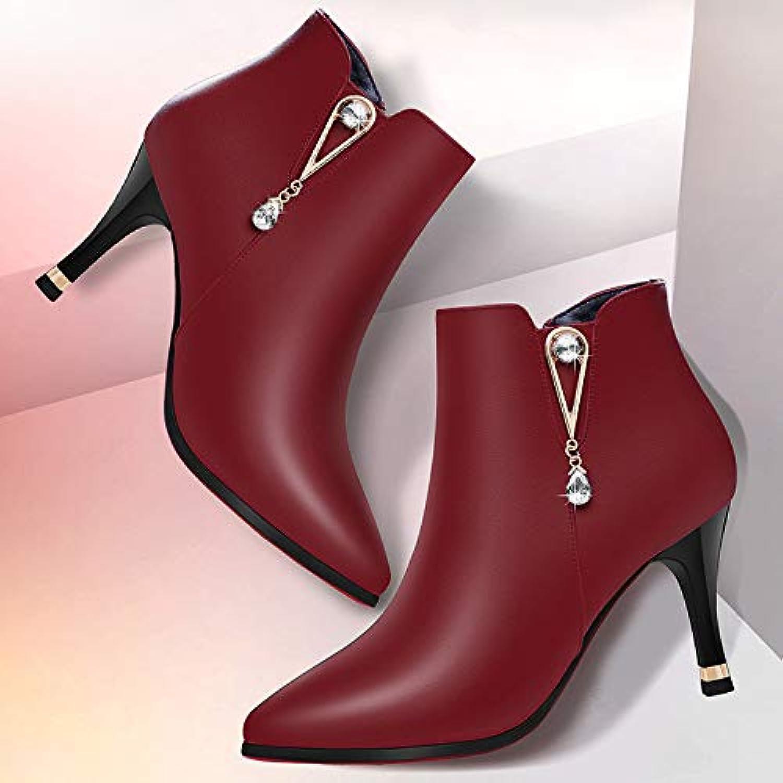 HOESCZS Stiefel Martin Stiefel Frauen Herbst Und Winter Schuhe Stiefel Schwarz Wild Fashion Stiletto Heels Stiefeletten