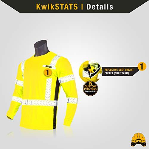 KwikSafety (Charlotte, NC) RENAISSANCE MAN Long Sleeve (w/POCKET) Class 3 ANSI High Visibility Safety Shirt Fishbone Reflective Tape Construction Security Hi Vis Clothing Men | Yellow Medium