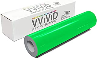 VViViD DECO65 Neon Fluorescent Green Permanent Adhesive Craft 12 Inches x 5 Feet Vinyl Roll for Cricut, Silhouette & Cameo Including Free 12 Inches x 12 Inches Transfer Paper Sheet