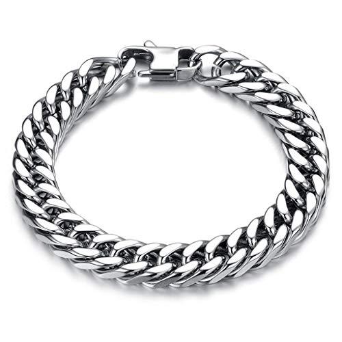 ZHHAOXINJE Titanium stalen armband, heren zilver titanium roestvrij staal bedelarmband gepersonaliseerde armband armband armband armband mode sieraden Keepsake gift