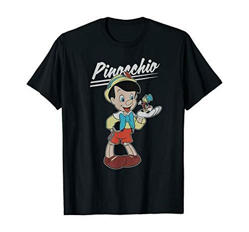 Personaje de Dibujos Animados Pinocho y Jiminy Disney para Hombres y Mujeres Camiseta Divertida Regalo de cumpleaños
