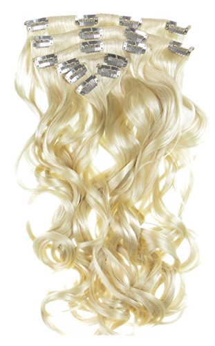 Toutes les couleurs disponibles, Ensemble De Pinces Extensions De Cheveux Ondulées Extra Longues 66cms Blond Platine 200 Grms