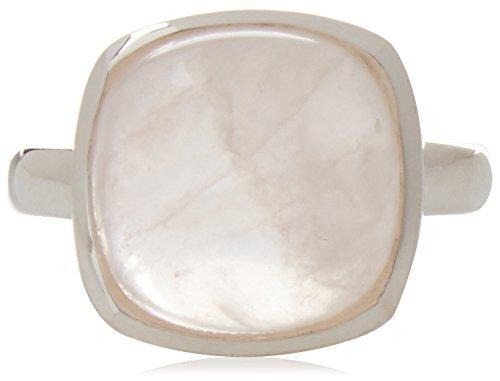 Elements Silver - Anello in argento Sterling con quarzo rosa, taglio Cabochon, argento, 59 (18.8), cod. AZ-R3456P 60