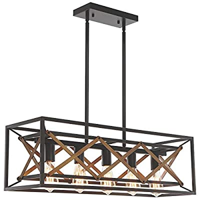 reesenLight Kitchen Island Lighting, 5-Light Rustic Linear Farmhouse Chandelier, Industrial Metal Rectangle Cage Hanging Pendant Ceiling Light Fixtures for Dining Room Pool Table Restaurant Coffee