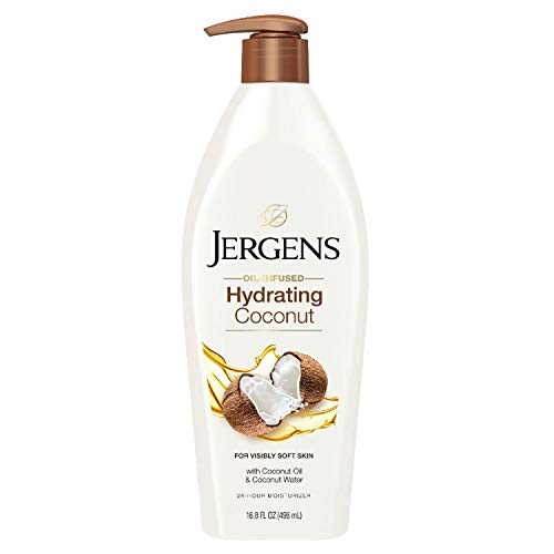Jergens Hydrating Coconut Body Moisturizer, Infused with Coconut Oil and Water for Long-Lasting Moisture, Hydrates Dry Skin Instantly, 16.8 FL OZ, Dermatologist Tested (Packaging May Vary)