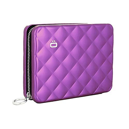 Ögon Quilted Wallet Reisepassetui Kreditkartenetui Aluminium RFID-safe Violett