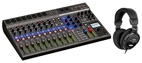 Zoom LiveTrak L-12 Digital Mischpult Set (Standalone-Mehrspur-Recorder, 12 diskrete Kanäle, via USB auch als 14/4 Audio-Interface verwendbar, inklusive Kopfhörer)
