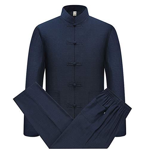 Algodón Lino Tai Chi Set para Hombres - 2 Piezas Chino Tradicional Traje Tang Artes Marciales Ropa Camisas + Pantalones