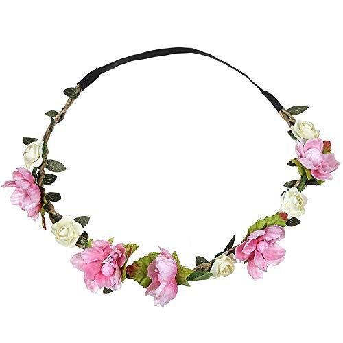 Dorical Stirnband Blumen, 1 Stück Stirnbänder Krone Haarband Kopfband Blume Haarbänder mit Elastischem Band für Hochzeit und Party Haarbänder Band für Frauen Mädchen Mehrfarbig Blume(Rosa)