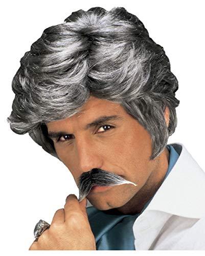 Perruque play-boy et Gris Moustache