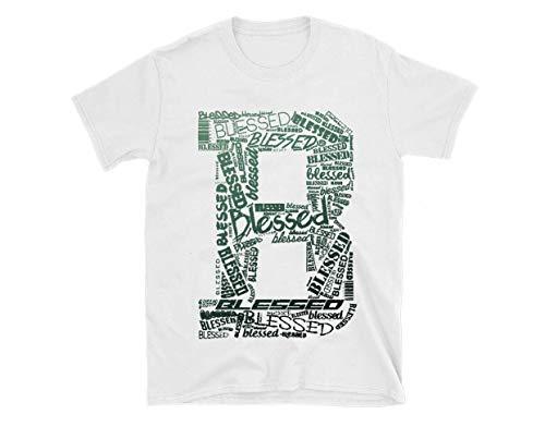 New White_B_ Blessed T Shirt Jordan R_e_t_r_o 1 High OG Pine Green